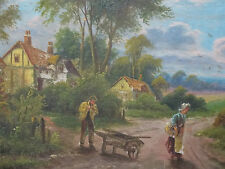 Antique Victorian 19th Century English Country Landscape Oil Fine Art Painting
