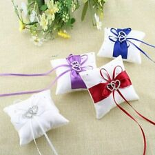 Bridal Lace Cushion White Heart Ceremony Satin Wedding Bearer Pillow Ring
