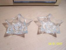GREAT STAR SHAPED CLEAR GLASS CANDLE STICK HOLDERS