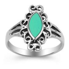Women 17mm Sterling Silver Marquise Simulated Turquoise Filigree Design Ring