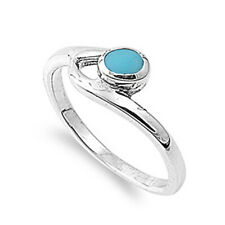 Women 8mm 925 Sterling Silver Oval Simulated Turquoise Bypass Promise Ring Band