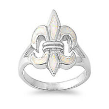 Women 22mm 925 Sterling Silver Simulated White Opal Fleur De Lis Ring Band