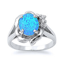 Women 15mm 925 Sterling Silver Oval Simulated Blue Opal Ladies Ring Band