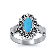 Women 16mm 925 Sterling Silver Simulated Turquoise Vintage Ring Band