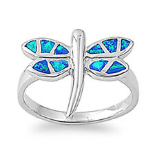 Women 16mm 925 Sterling Silver Simulated Blue Opal Dragonfly Ring Band