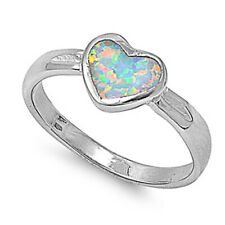 Women 8mm 925 Sterling Silver Simulated White Opal Heart Ladies Ring Band