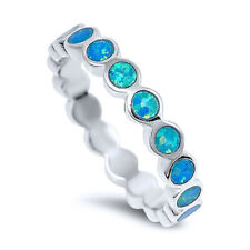 Women 4mm 925 Sterling Silver Simulated Blue Opal Eternity Band Ring Band