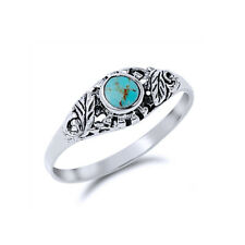 Women 7mm 925 Sterling Silver Round Cut Simulated Turquoise Promise Ring Band