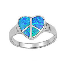 Women 12mm Sterling Silver Simulated Blue Opal Heart Peace Sign Ladies Ring Band