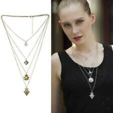 Women Multi-layer Chain Gold/Silver Metal Turquoise Arrow Heart Pendant Necklace