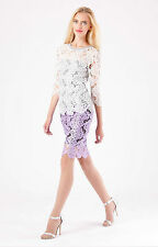 Hale Bob White Sequin Floral Lace Top w Sweater Knit Back XS NWT 3LAL2263