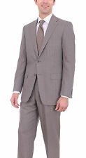Hart Schaffner Marx Mens Chicago Classic Fit Gray Striped Wool Suit Made In Usa