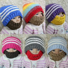 New Handmade Full Beard Hat Knit Crochet Baby Hat Cap Newborn Photo Prop Hat Cap