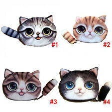 1xCat Face Tail 3D Coin Purse Wallet Bag Change Key Holder Girl Handbag Fashion