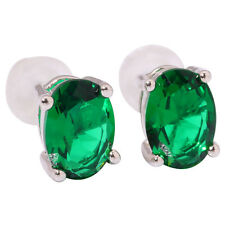 Silver Multigem Oval for Women Jewelry Gemstone Stud Earrings 7x5mm FH7196-7201