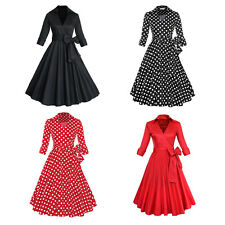 Rockabilly Housewife Party Prom Tea Dress 50s Vintage Polka Dots Swing Dresses