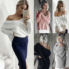 Womens Long Sleeve Pullover Sweater Ladies Off Shoulder Jumper Dress Size 6-14