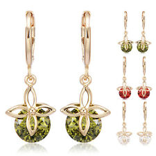 Butterly Crystal Dangle Flower Hoop earrings Statement Yellow gold plated Korean
