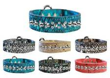 DRAGON SKIN LEATHER Dog Collar * 2 Rows Clear Crystals & Spikes Puppy Punk Wear