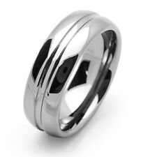Men 8MM Comfort Fit Tungsten Carbide Wedding Band Grooved Dome Ring / GIFT BOX