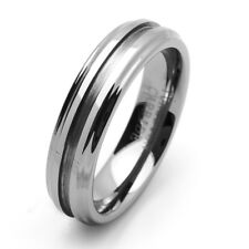 Men 6MM Comfort Fit Tungsten Carbide Wedding Band Brushed Groove Ring / GIFT BOX