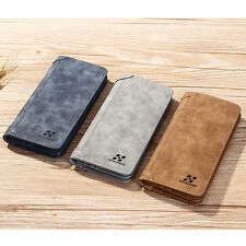 Long Men PU Leather ID credit Card holder Clutch Bifold Coin Purse Wallet Pocket