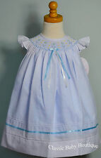 NWT Will'beth White Blue Smocked Bishop Dress 12 18 Months Girls Angel Wing