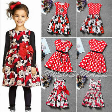 Kids Girls Toddler Minnie Mouse Birthday Party Dress Children Bow Dress Costume