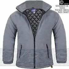 Mens Padded Quilted Jacket Thick Anti Pill Fleece Winter Warm Coat Grey Gray TOP