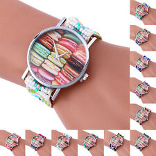 Fashion Weaving Multicolor Watches Bracelet Glass Quartz Lady Womens Wrist Watch