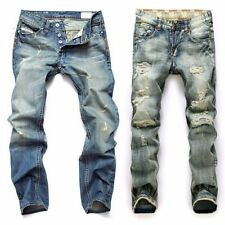 Men Straight Ripped Denim Jeans Retro Holes Skinny Slim Pants Washed Yellow Blue