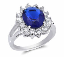 De Lelu Sterling Silver Simulated Blue Sapphire Oval Cubic Zirconia Ring