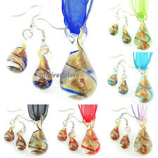 Swirls Round Tear Drop Gold Lampwork Murano Glass Pendant Necklace Earrings Set