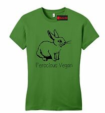 Ferocious Vegan Juniors T Shirt Vegetarian Animal Lover Vegan Gift Slim Fit Tee