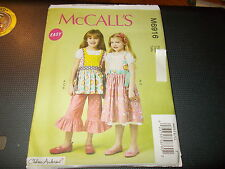 McCalls Pattern M6916 Girls CHELSEA ANDERSEN Tops~Dress~Pinafores~Pants EASY!