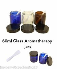 60ml Glass Jar Black Lid - Blue/Clear/Amber - Aromatherapy Ointment Container