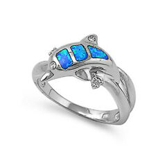 Fine Women 11mm 925 Sterling Silver Simulated Blue Opal Dolphin Ladies Ring Band