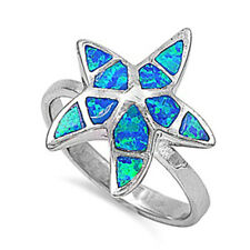 Fine Women 18mm 925 Sterling Silver Simulate Blue Opal Starfish Ladies Ring Band