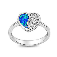 Fine Women 11mm 925 Sterling Silver Simulated Blue Opal Filigree Heart Ring Band