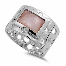 Fine 13mm 925 Silver Pink Freshwater Cultured Mother of Pearl Ladies Ring