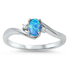 Fine Women 6mm 925 Sterling Silver Simulated Blue Opal White CZ Ladies Ring Band