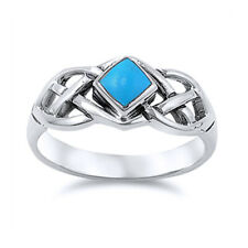 Fine Men Women 8mm Sterling Silver Simulated Turquoise Celtic Knot Ring Band