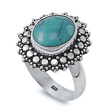 Fine Women 20mm Sterling Silver Simulated Turquoise Vintage Cocktail Ring Band