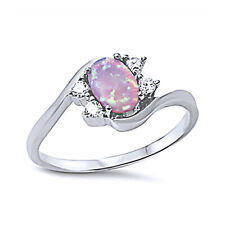 Fine Women 9mm 925 Sterling Silver Simulated Pink Opal Bypass Ladies Ring Band