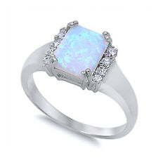 Fine Women 10mm 925 Sterling Silver Square Simulated White Opal Ladies Ring Band