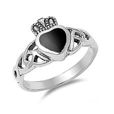 Fine Men Women 11mm 925 Silver Black Onyx Heart Celtic Claddagh Ring Band