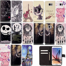 Printed Leather Wallet Flip Phone Stand Cover Case For Samsung S6 S7 Edge LG K10