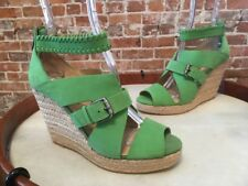 La Victoire Elvina Green Leather Ankle Wrap Wedge Sandal New