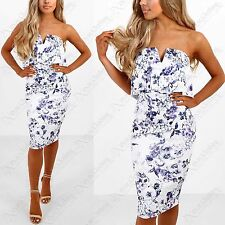 NEW WOMENS FLORAL MIDI DRESS BANDEAU STRAPLESS SLIT NECK FRILL LADIES BODYCON