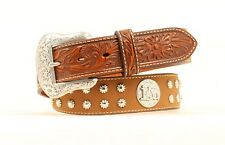 PRAYING COWBOY, CROSS, HORSE ~Brown Leather~MAN'S WESTERN BELT~Silver NOCONA 17